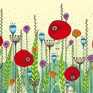 łąka, maki, kwiaty dom