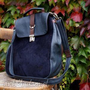 plecaki lilith plecak torba granatowa skóra, torba, plecak, granat, ciemny, skóra