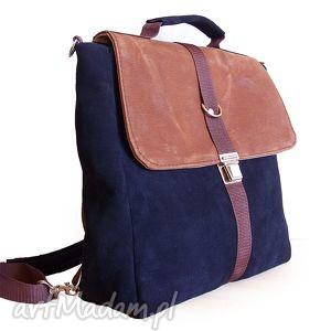 plecak torba granat-orzech - plecak, granat, torba, teczka, tornister, skóra