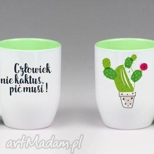 Kubek z łyżeczką Człowiek nie kaktus... , kubek, z, łyżczką, kaktus, ceramika