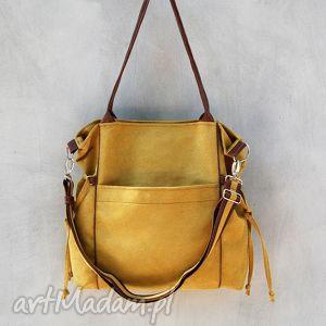 amber - duża torba shopper musztarda i brąz, duża, pojemna, shopper, oryginalna