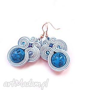 błękitne kolczyki sutasz z marmurem , sutasz, soutache, marmur biżuteria