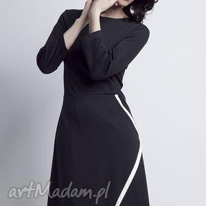 świąteczny prezent, sukienki sukienka, suk116 czarny, kopertowa, zakładana, lamówka