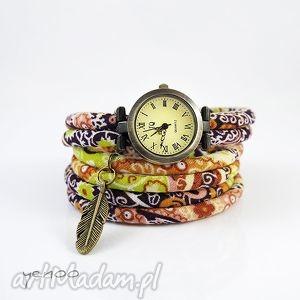 zegarki zegarek, bransoletka - brązowy boho owijany, bransoletka, owijany