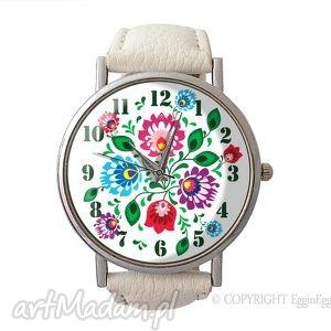 folkowe kwiaty - skórzany zegarek z dużą tarczą - zegarek, skórzany