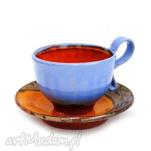 ceramiczna filiżanka h - z unikatowego cyklu, filiżanka, talerzyk, naczynia
