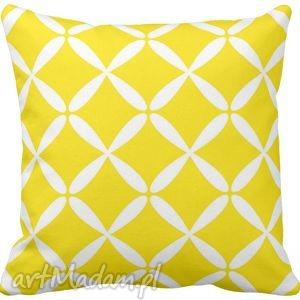 Poduszka ozdobna dekoracyjna żółto-białe figury geometryczne 6582 - żółta