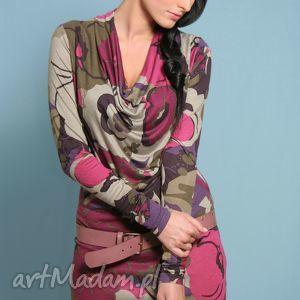 wzorzysta mini-sukienka z opadającym dekoltem, sukienka, mini, dekolt, dopasowana