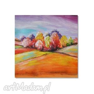pejzaż bajkowy, nowoczesny obraz ręcznie malowany, obraz, ręcznie