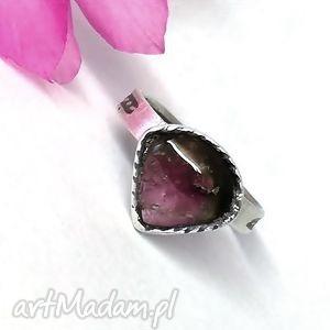 Turmalin arbuzowy, turmalin, pierścioenk, srebro, biżuteria