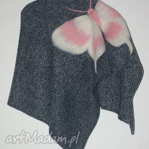 ponczo filcowane dla dziewczynek, motyle, wełna, filcowanie, prezent, urodziny