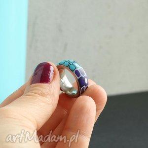 Obrączka z fimo i stali, pierścionki, obrączki, kolorowe, geometryczne, stal