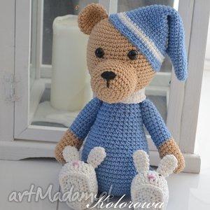 Miś Śpioszek - M niebieski, miś, piżama, dziecko, przytulanka, misiaczek