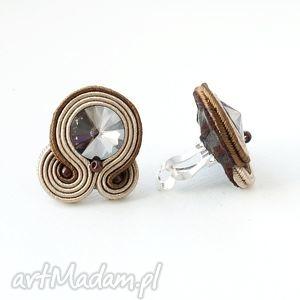 klipsy brązowe, sutasz, swarovski, handmade, unikalny prezent