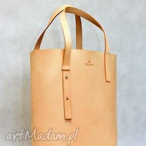 stylowy shopper bag ze skóry naturalnej, torebka, skórzana, shopper