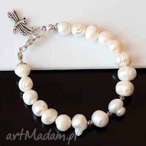 perła z ważką, perły, metal, ważka, bransoletka bransoletki biżuteria, prezent na