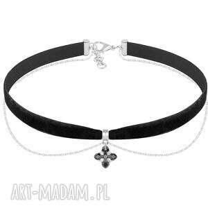 naszyjniki choker with chain - black velvet, choker, swarovski