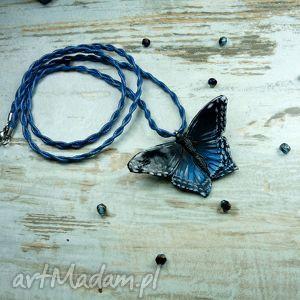 broszka i wisior 2w1 - niebieski motyl - wisior, broszka, zawieszka, motyl, 2w1