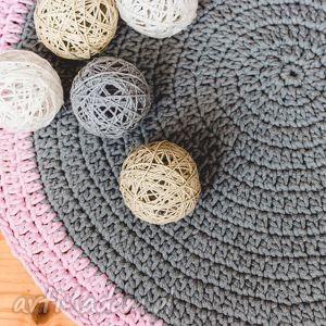 dywan ze sznurka szaro - różowy 180 cm, dywan, sznurek, dziecko, chodnik, szydełko