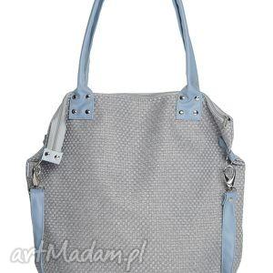 torba worek xl plecionka blue, duża, torba, oversize, xxl, plecionka, szara