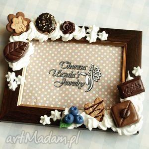 słodka czekoladowa ramka, słodycze, czekoladki, pralinki, ciastka, modelina