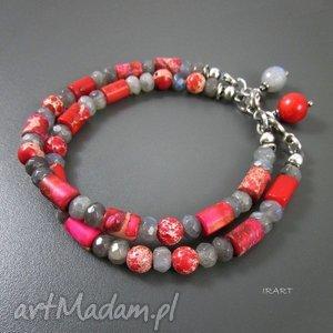 czerwono - szare z labradorytem, koral, labradoryt, jaspis, srebro biżuteria