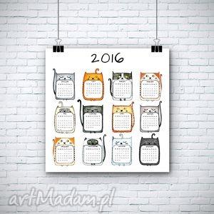 grafika kalendarz na 2016 rok, kalendarz, kot, koty dom