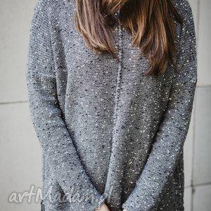 szary melanżowy sweter, szary, melanż, wełna swetry, świąteczny prezent