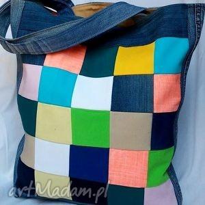 torba z jeansu kolorowa szachownica patchwork, torba, duża, recykling, ekotorba