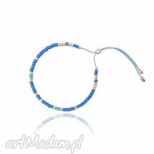 bransoletka minimal - blue and gold, bransoletka, minimal, handmade, koralikowa