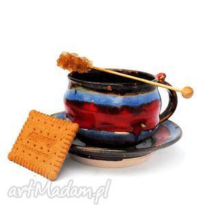 filiżanka z talerzykiem - jt nr128, filiżanka, talerzyk, ceramika, użytkowe