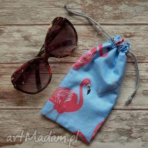 etui bawełniany woreczek na okulary - flamingi, etui, woreczek, okulary, flamingi