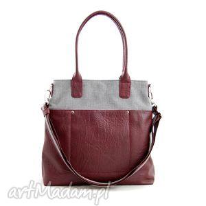 fiella - duża torba szara plecionka i burgund, modna, upominek, niebanalna, shopper