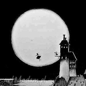 Grafika piórkiem Zabierz mnie ze sobą artystki Adriany Laube, księżyc, pełnia