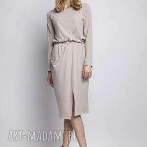 pod choinkę prezent, sukienka, suk109 beż, casual, asymetryczna, kieszeń