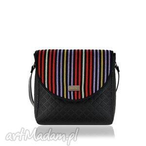 na ramię torebka puro 881 stripes, paski, kolorowa, pikowana, czarna, rękodzieło