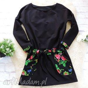 Dresowa czarna sukienka folkowa folk kwiaty, sukienka, folk,