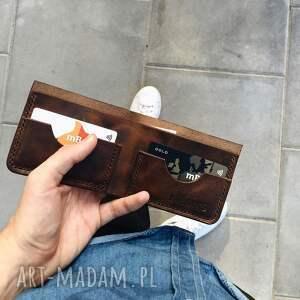 handmade portfele portfel bifold brązowy