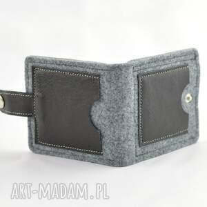 szare portfele skóra minimalistyczny portfel- mini