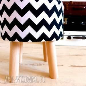 eleganckie pufy drewno podnóżek fjerne s chevron zygzak