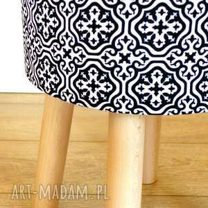 białe pufy stołek fjerne m ( czarne maroco)