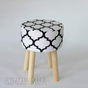 unikalne pufy puf stołek fjerne m biało-czarna