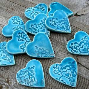 turkusowe ślub podziękowania ceramiczne serduszka na magnes