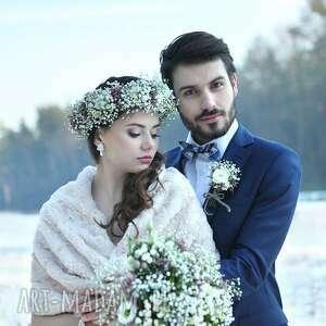 niepowtarzalne ślub szal dwustronny bezowy
