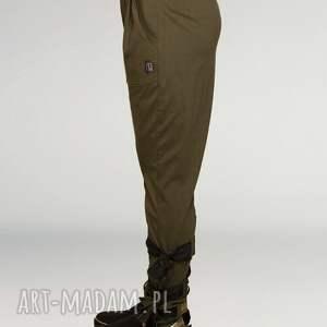 spodnie wiązania zielone z wiązaniami