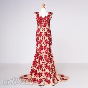 czerwone sukienki moda henriette - suknia