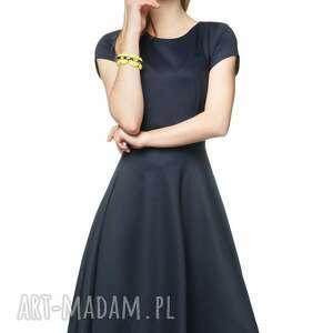 wyjątkowe sukienki rozkloszowana sukienka star midi granat