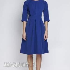 gustowne sukienki rozkloszowana sukienka, suk122 indygo