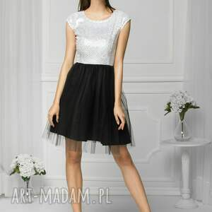 wyjątkowe sukienki wesele sukienka tiulowa biało/czarna fal