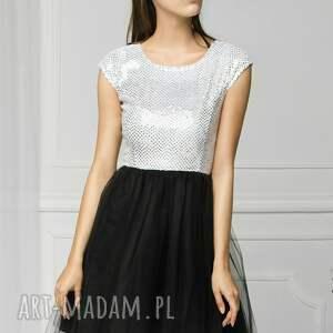 studniówka sukienki sukienka tiulowa biało/czarna fal